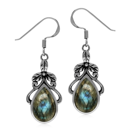 Natural Labradorite Stone 925 Sterling Silver Victorian Floral Drop Dangle Hook Earrings