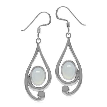 Natural Light Blue Chalcedony Stone 925 Sterling Silver Casual Swirl Drop Dangle Earrings
