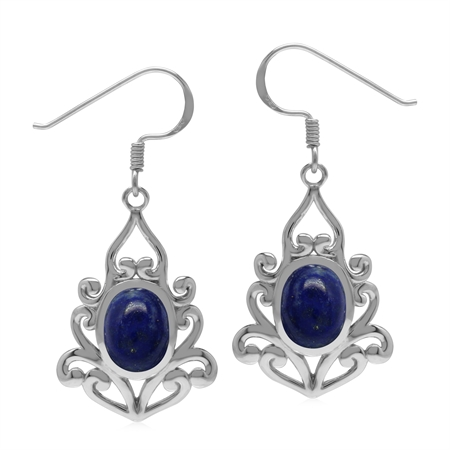9x7 mm Blue Lapis Stone 925 Sterling Silver Victorian Inspired Drop Dangle Hook Earrings
