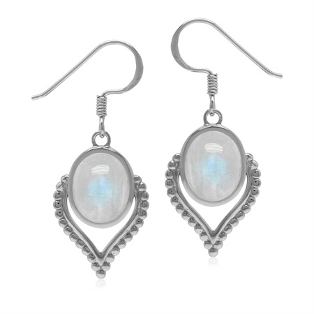 Bohemian Inspired Natural Rainbow Moonstone Gem 925 Sterling Silver Dangle Drop Earrings