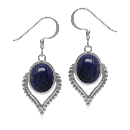 Oriental Style Natural Blue Lapis Lazuli Gem 925 Sterling Silver Dangle Drop Earrings