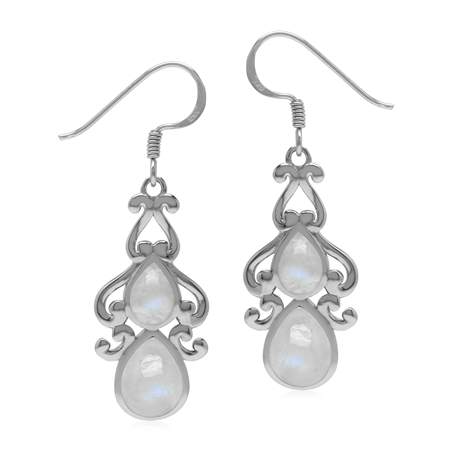 Vintage Inspired 925 Sterling Silver Drop Dangle Earrings with Natural Rainbow Moonstones
