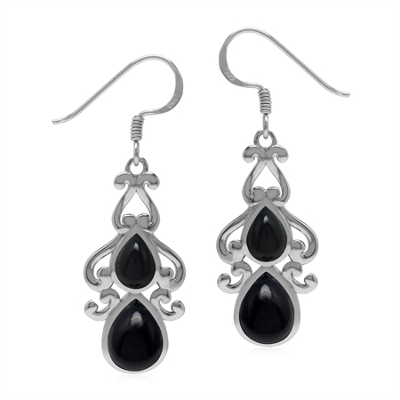 Vintage Inspired 925 Sterling Silver Drop Dangle Earrings with Natural Black Onyx Stone