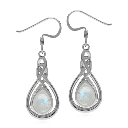 Celtic Style 925 Sterling Silver Drop Dangle Earrings with Natural Rainbow Moonstone