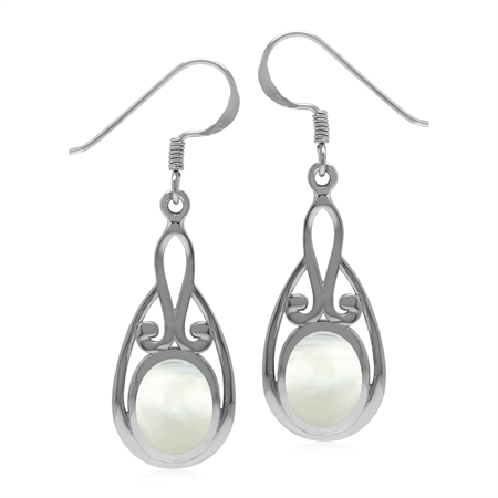 Vintage Inspired 925 Sterling Silver Drop Dangle Earrings with Natural White Mother Of Pearl