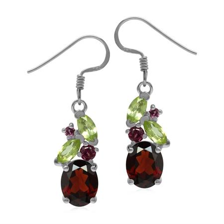 Garnet Peridot and Rhodolite 925 Sterling Silver Colorful Dangle Earrings