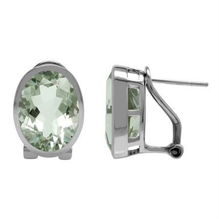 Genuine Oval 14x10 mm 11 Ctw Green Amethyst 925 Sterling Silver Omega Post Classic Earrings