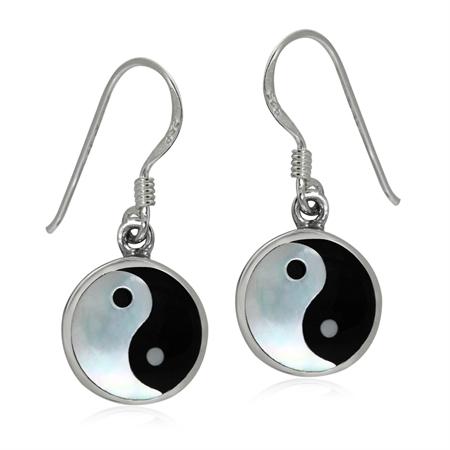 White Mother Of Pearl & Black Onyx 925 Sterling Silver Yin Yang Dangle Earrings