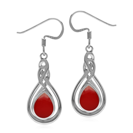 Celtic Style 925 Sterling Silver Dangle Hook Drop Earrings with Created Red Coral