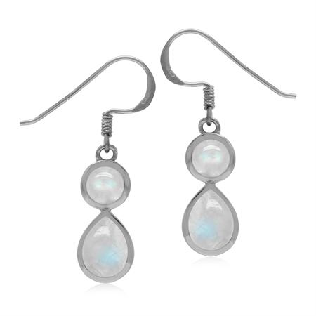 Natural 4.4 Ctw Rainbow Moonstone 925 Sterling Silver Dangle Hook Drop Earrings