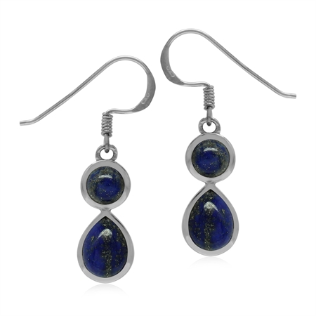 Natural Blue Lapis Lazuli  White Gold Plated 925 Sterling Silver Dangle Hook Drop Earrings