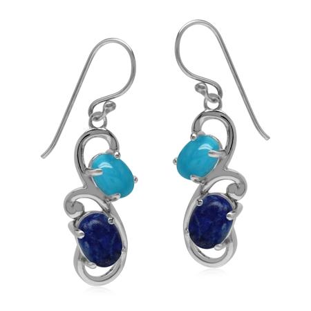 Genuine Blue Lapis Lazuli and Arizona Turquoise 925 Sterling Silver Swirl Dangle Hook Earrings