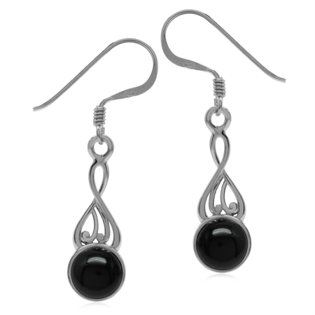 Created Black Onyx 925 Sterling Silver Victorian Inspired Dangle Hook Earrings