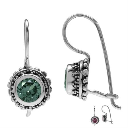 Created Color Change Alexandrite 925 Sterling Silver Bali/Balinese Style Hook Earrings