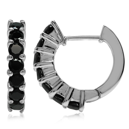 Natural Black Onyx White Gold Plated 925 Sterling Silver Journey Huggie Earrings