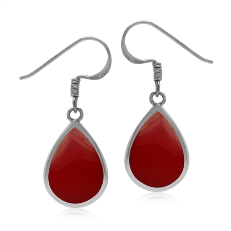 Drop Shape 14x10 mm Created Red Coral Inlay 925 Sterling Silver Dangle Hook Summer Earrings
