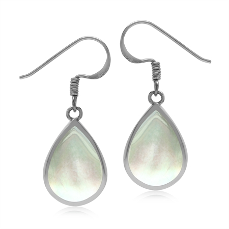 Drop Shape 14x10 mm White Mother of Pearl Inlay 925 Sterling Silver Dangle Hook Summer Earrings