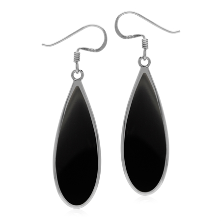 Natural 30x10 mm Black Onyx Inlay 925 Sterling Silver Dangle Hook Drop Business Earrings