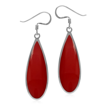 Created 30x10 mm Red Coral Inlay 925 Sterling Silver Dangle Hook Drop Summer Earrings