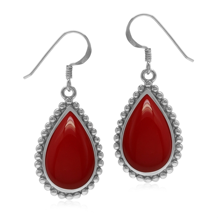 Created Drop Shape Red Coral 925 Sterling Silver Dangle Hook Balinese Style Bead Patern Earrings