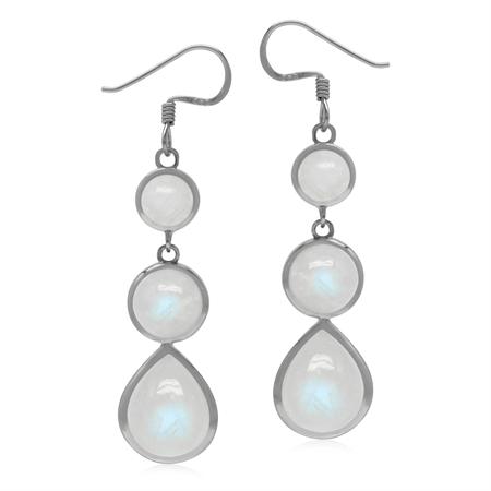 Natural 17 Ctw Rainbow Moonstone 925 Sterling Silver Graduated Dangle Hook Drop Earrings
