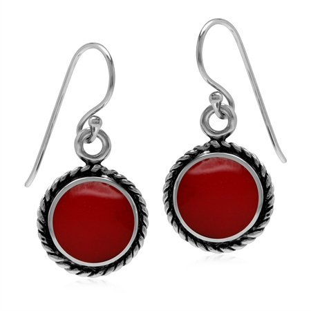 Created 10 mm Red Coral Inlay 925 Sterling Silver Rope Pattern Dangle Hook Earrings