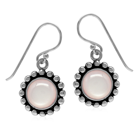 Genuine 8MM Pink Mother Of Pearl 925 Sterling Silver Bead Ball Pattern Dangle Earrings