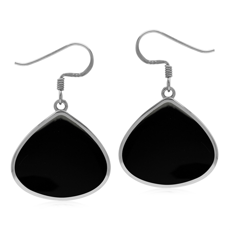 Natural 20x18 mm Black Onyx 925 Sterling Silver Drop Shape Dangle Hook Earrings