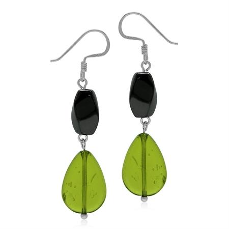 Green & Black Glass 925 Sterling Silver Dangle Drop Hook Earrings