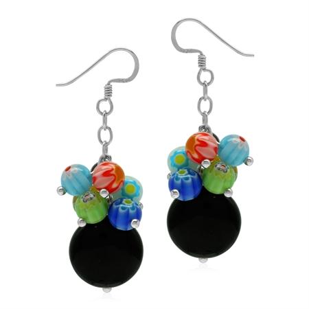 Colorful Millefiori Glass 925 Sterling Silver Dangle Hook Earrings