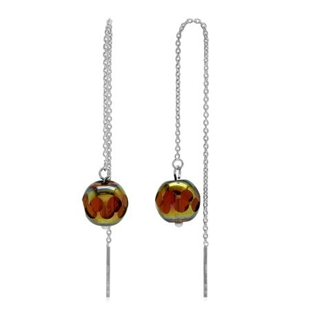 Rainbow Tea Color Crystal Ball 925 Sterling Silver Threader Earrings