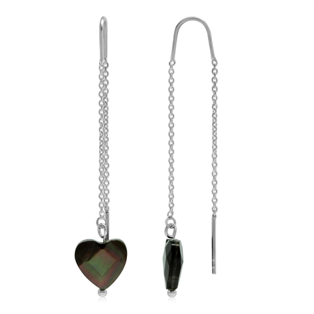 Black Mother Of Pearl 925 Sterling Silver Threader Earrings