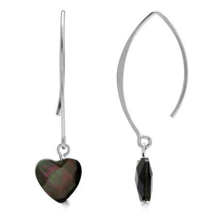 Black Mother Of Pearl 925 Sterling Silver Threader Earrings