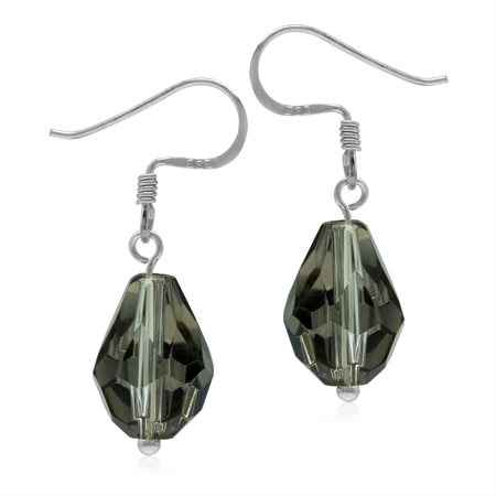 Smoky Color Briolette Crystal 925 Sterling Silver Dangle Drop Earrings