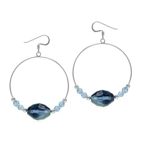 Blue Briolette Crystal 925 Sterling Silver Dangle Hoop Hook Earrings