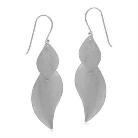 Modern Scratch Finish Leaf 925 Sterling Silver Dangle Hook Earrings