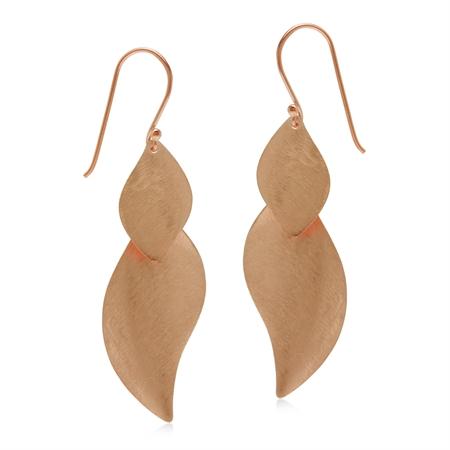 Modern Rose Gold Flash Scratch Finish Leaf 925 Sterling Silver Dangle Hook Earrings