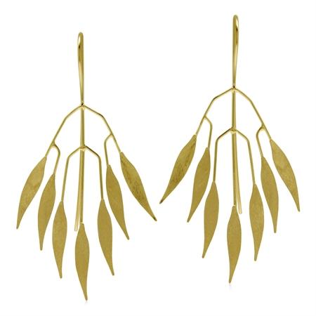 Modern Yellow Gold Flash Scratch Finish Fan Shape Leaves 925 Sterling Silver Threader Wire Earrings