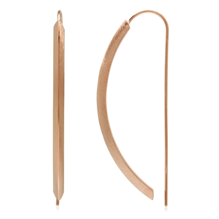 Modern Rose Gold Flash Scratch Finish Curve Bar 925 Sterling Silver Threader Wire Earrings