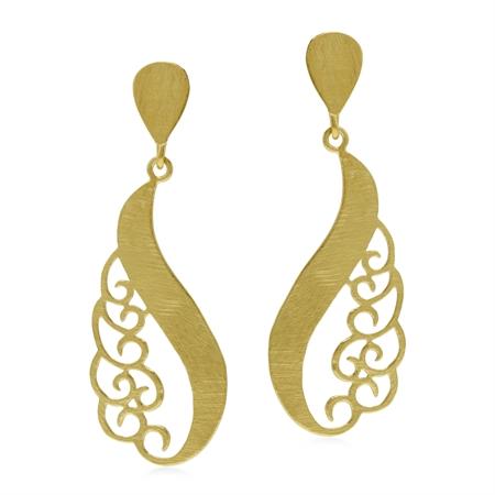 Modern Yellow Gold Flash Victorian Drop Shape Swirl 925 Sterling Silver Post Earrings