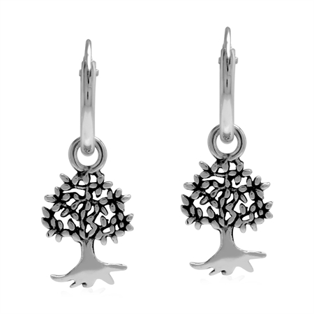 Petite 10 mm Wire Hooop 925 Sterling Silver Earrings with Dangle Tree of Life