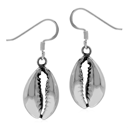 Cowry Sea Shell 925 Sterling Silver Dangle Post Earrings