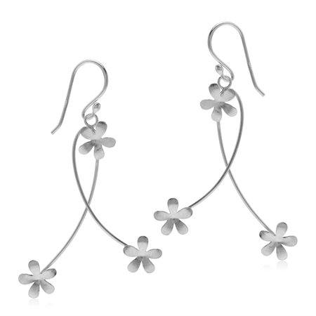925 Sterling Silver Textured Flower Dangle Hook Earrings