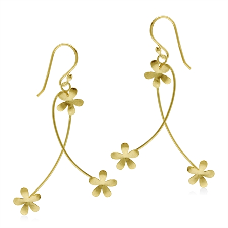 925 Sterling Silver Textured Flower Yellow Gold Flash Dangle Hook Earrings