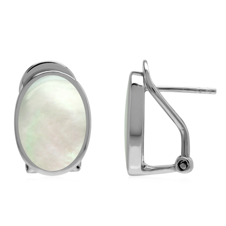 Natural 14x10 mm White Mother Of Pearl  Shell Inlay 925 Sterling Silver Omega Clip Post Earrings