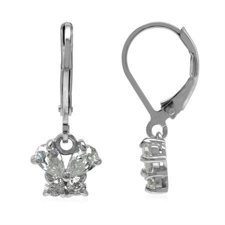 Petite White CZ 925 Sterling Silver Butterfly Leverback Dangle Earrings