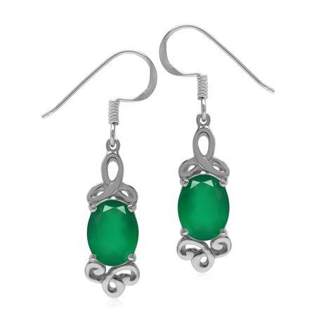 2.8 ct. Genuine Emerald Green Agate 925 Sterling Silver Triquetra Celtic Knot Dangle Earrings