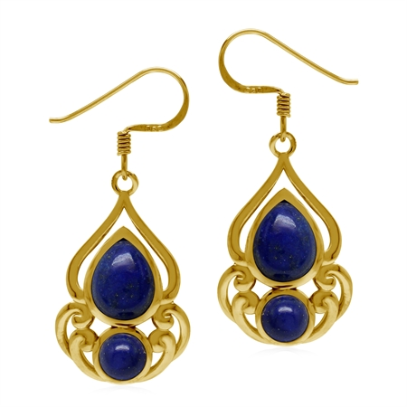 Natural Lapis Lazuli 925 Sterling Silver Yellow Gold Plate Victorian Drop Dangle Hook Earrings