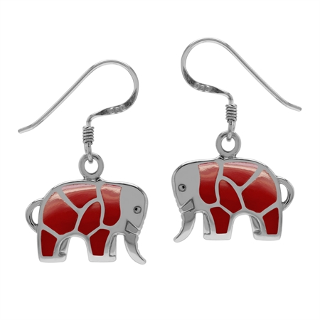 Created Red Coral Inlay 925 Sterling Silver Elephant Dangle Hook Earrings