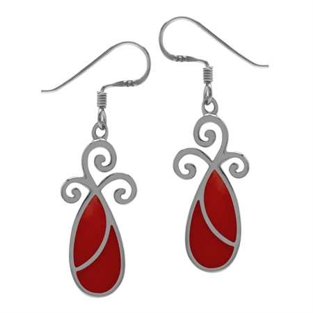 Created Red Coral Inlay 925 Sterling Silver Swirl Drop Dangle Hook Earrings Jewelry